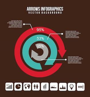 Infographie de flèches au cours de l'illustration vectorielle fond marron