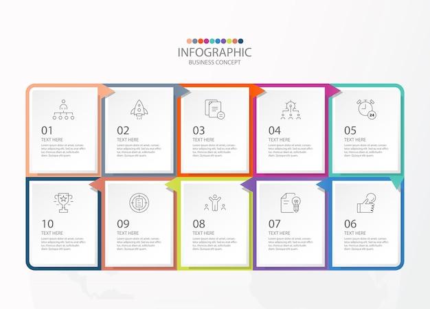 Infographie de forme carrée avec 10 étapes, processus ou options, organigramme de processus, utilisé pour le diagramme de processus, les présentations, la mise en page du flux de travail, l'organigramme, l'infographie. illustration vectorielle eps10.