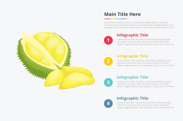 Infographie fruits fruits roi durian