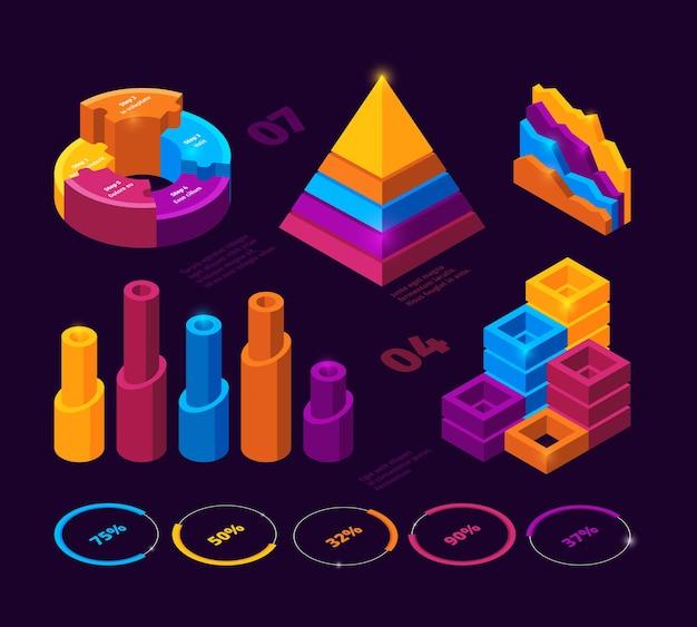 Infographie futuriste. graphiques diagrammes barres de statistiques vectoriels éléments isométriques d'analyse commerciale