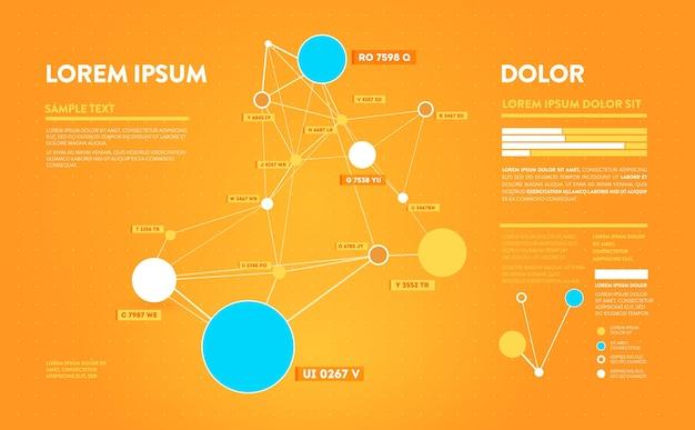 Infographie futuriste. information esthétique. visualisation graphique de fils de données complexes. graphique de données abstraites.
