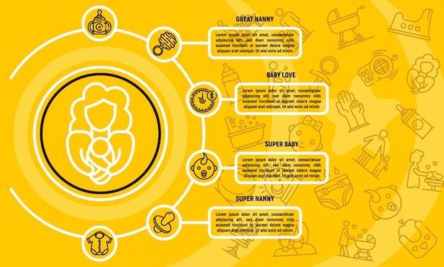 Infographie de garde d'enfants, style de contour