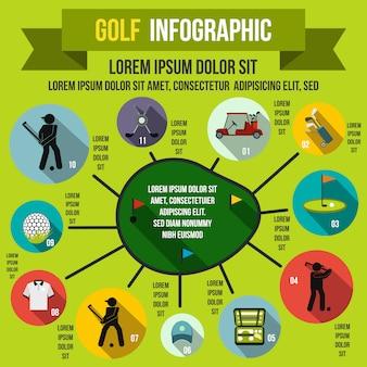 Infographie de golf dans le style plat pour n'importe quelle conception