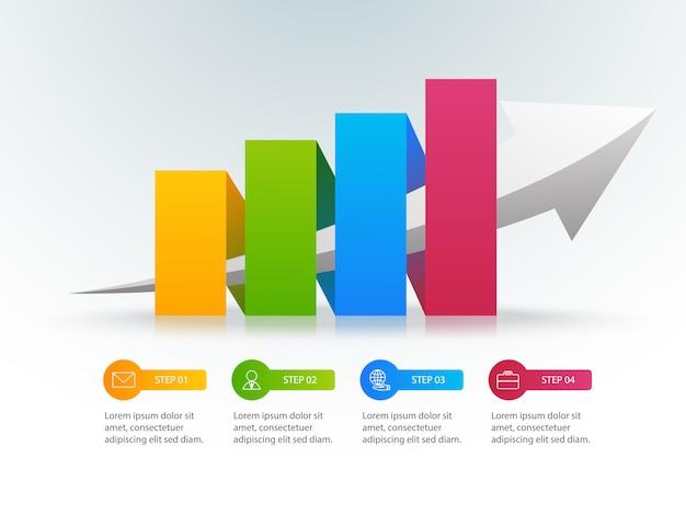 Infographie graphique de croissance colorée avec 4 options ou étapes et place pour le texte