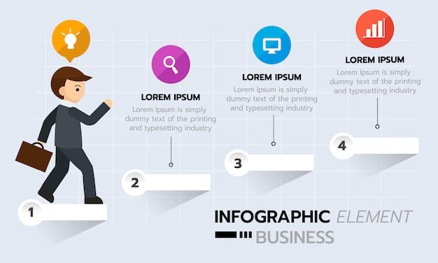 Infographie graphique d'entreprise, étape de la réussite. modèle d'infographie de la chronologie.