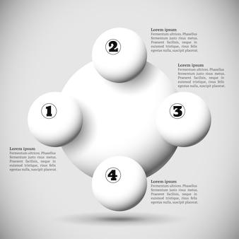 Infographie avec groupe de boules volantes