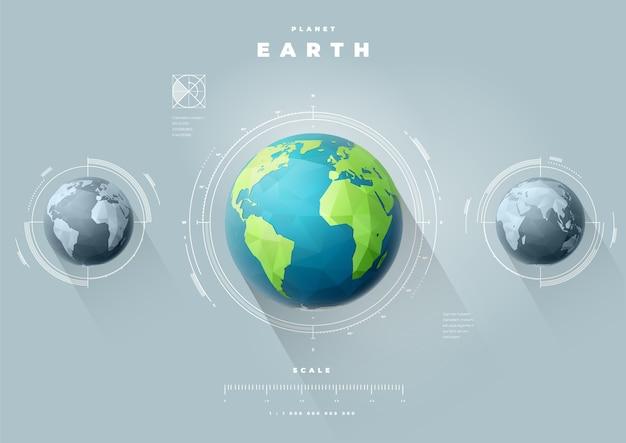 Infographie des hémisphères ouest et est de la terre