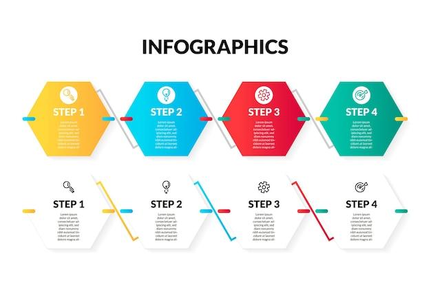 Infographie hexagonale moderne en 4 étapes ou en option colorée et blanche. parfait pour la présentation, le diagramme de processus, le flux de travail et la bannière