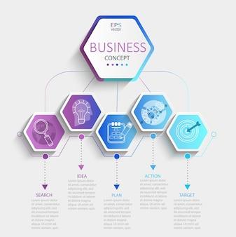 Infographie hexagonale moderne avec visualisation des données de la chronologie de l'entreprise. diagramme avec 5 étapes, options, pièces et processus. modèle de présentation, mise en page du flux de travail, bannière, organigramme. illustration vectorielle.