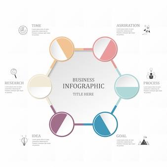 Infographie hexagone 6 cercle ou étapes pour les entreprises. concept de couleurs pourpres.