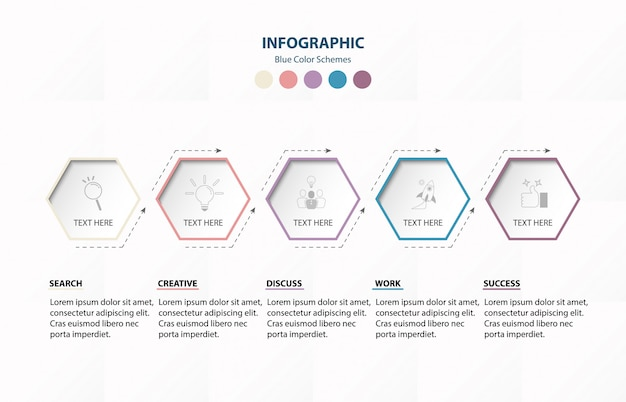 Infographie hexagone 6 option ou étapes.