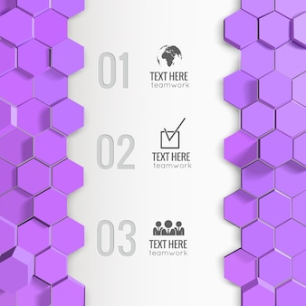 Infographie avec hexagones monochromes
