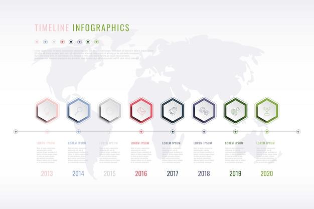 Infographie de l'histoire de l'entreprise avec des éléments hexagonaux