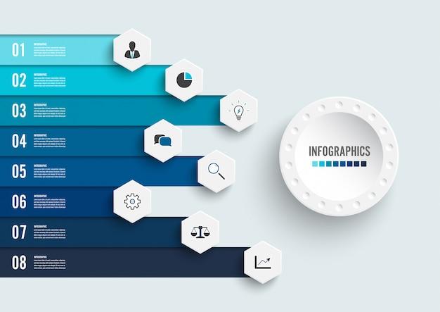 Infographie avec huit étapes et icônes marketing