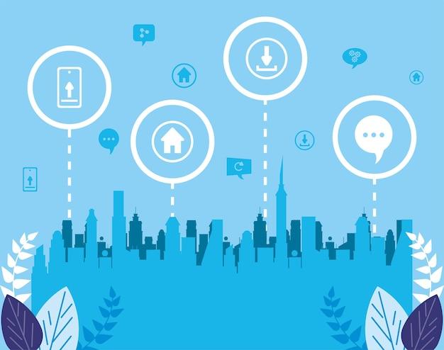Infographie des icônes de communication