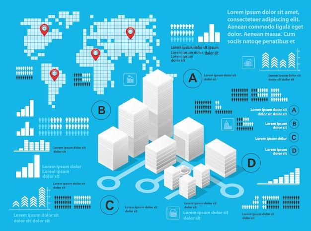 Infographie illustration bleue