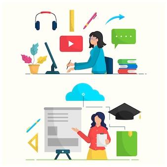 Infographie illustration personnes activités étudiant