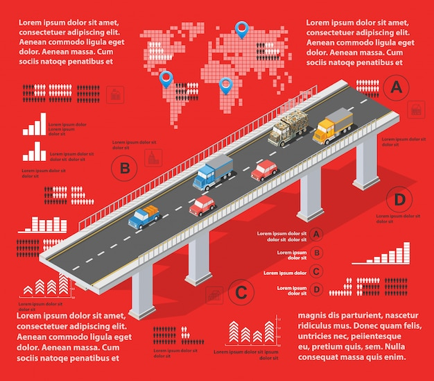 Infographie illustration rouge
