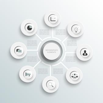 Infographie d'illustration vectorielle concept d'entreprise avec 8 options pour l'organigramme du diagramme de contenu