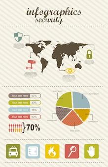 Infographie d'illustration vectorielle de sécurité style vintage