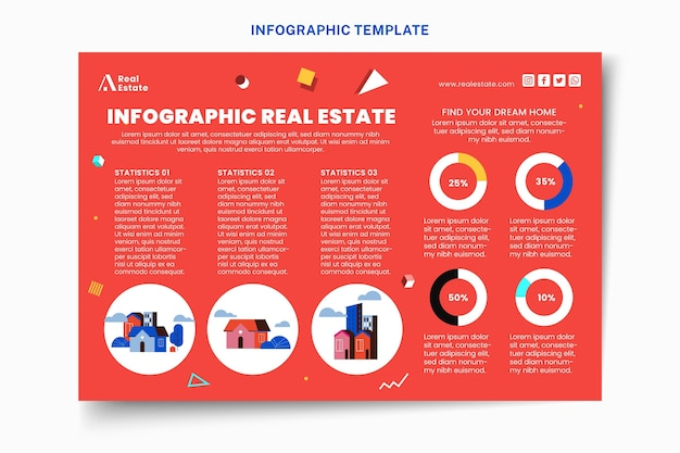 Infographie de l'immobilier géométrique abstrait plat