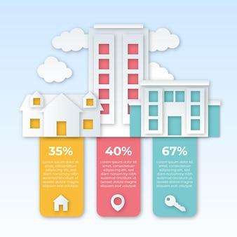Infographie Immobilière De Style Papier Vecteur gratuit