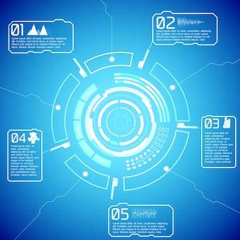 Infographie interactive futuriste numérique avec texte d'affichage technique et icônes sur fond bleu
