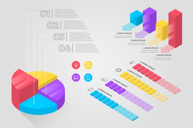 Infographie isométrique colorée
