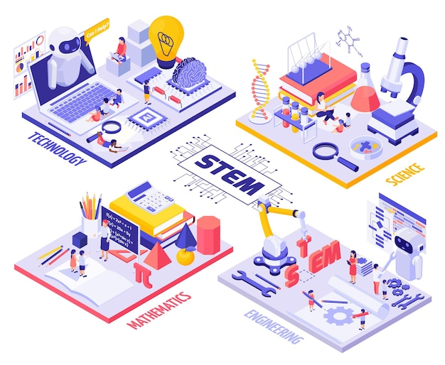 Infographie isométrique de l'éducation stem avec des personnages d'enfants et d'enseignants, robots d'équipement de laboratoire et outils d'ingénierie