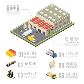 Infographie isométrique d & # 39; entrepôt