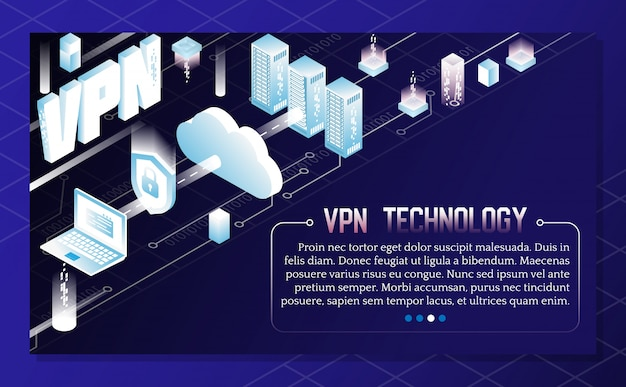 Infographie isométrique de vecteur de technologie vpn