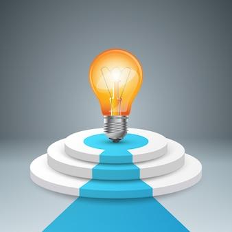 Infographie jusqu'à l'échelle du succès. escalier d'affaires. icône d'ampoule.