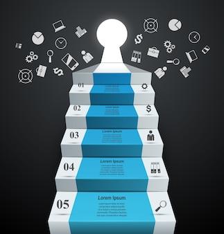 Infographie jusqu'à l'échelle du succès. escalier d'affaires.