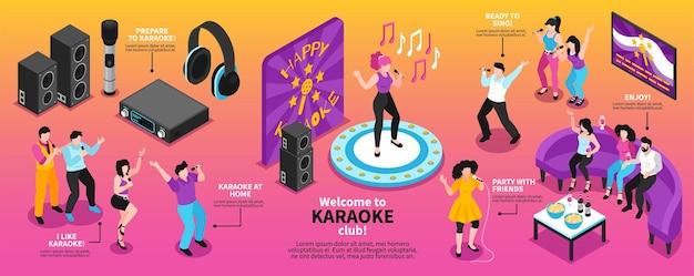 Infographie de karaoké isométrique avec illustration de personnes chantantes