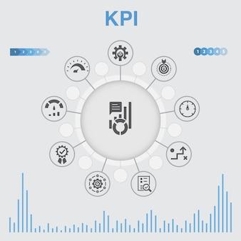 Infographie kpi avec des icônes. contient des icônes telles que optimisation, objectif, mesure, indicateur