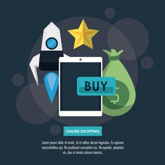 Infographie de magasinage en ligne avec des éléments de dessin animé