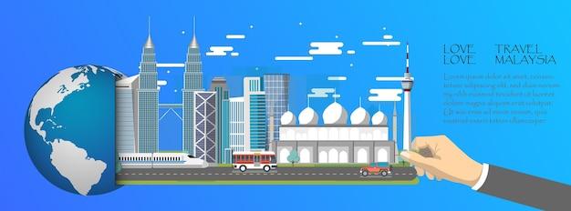 Infographie de la malaisie, mondiale avec les points de repère de la malaisie