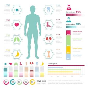 Infographie médicale avec l'homme et les graphiques