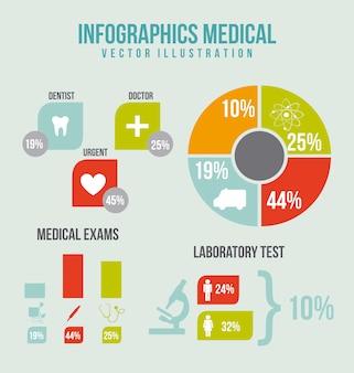 Infographie médicale avec icônes et bar vector illustration