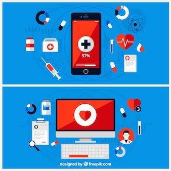 Infographie médicale avec ordinateur et téléphone mobile