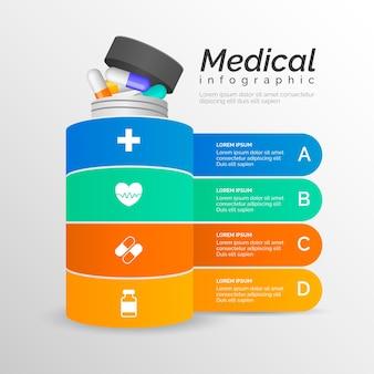 Infographie médicale avec des pilules