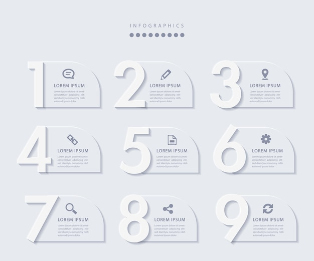 Infographie minimaliste élégante avec 9 étapes