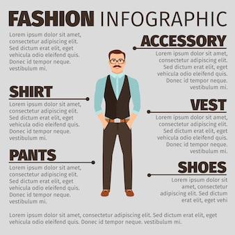 Infographie de la mode avec l'homme de style hipster