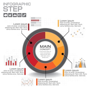 Infographie. modèle de diagramme, graphique, présentation et graphique. concept d'entreprise avec options, pièces, étapes ou processus.