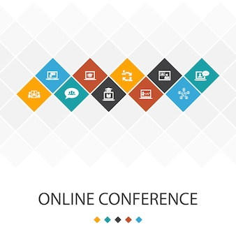 Infographie de modèle d'interface utilisateur à la mode de conférence en ligne concept.chat de groupe, apprentissage en ligne, webinaire, icônes de conférence téléphonique