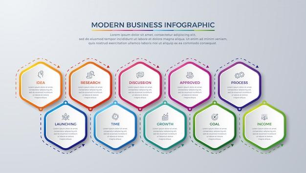 Infographie moderne avec 10 étapes