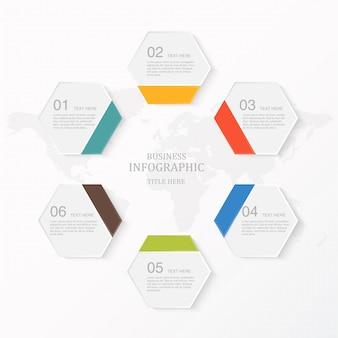 Infographie moderne 6 élément et icônes