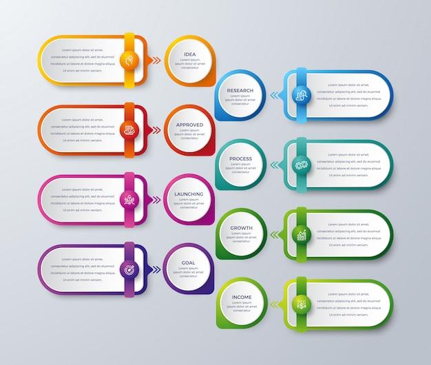Infographie moderne avec 8 étapes ou processus