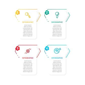 Infographie moderne de chronologie colorée et plate. parfait pour la présentation, le diagramme de processus, le flux de travail et la bannière