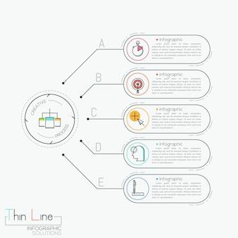 Infographie moderne, cinq zones de texte en forme de rectangles arrondis